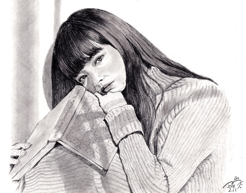小松菜奈の鉛筆画似顔絵