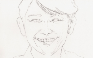 藤木直人の鉛筆画似顔絵途中経過