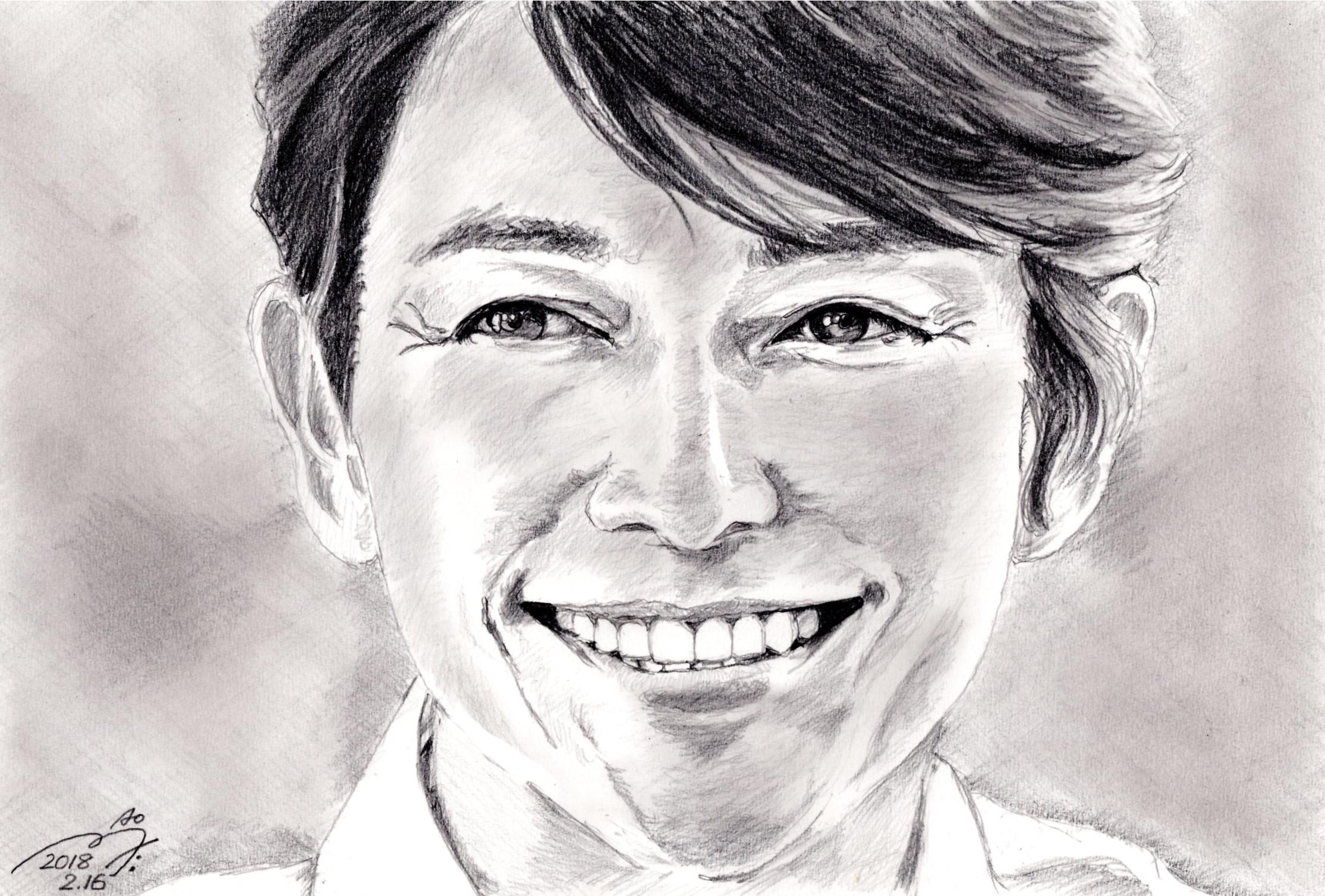 藤木直人の鉛筆画似顔絵